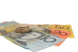 Australian $10, $20, $50 note & 5c, 10c, 20c, 50c coin