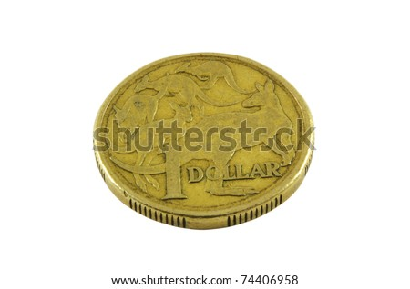 Australian old one dollar coin over white surface