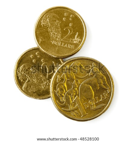 Australian one dollar and two dollar coins, isolated on white with soft shadow.