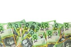 Australian one hundred dollar bills over white background.