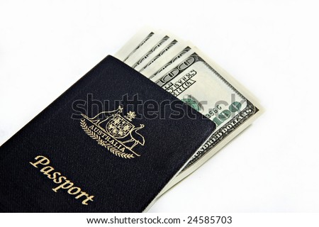 Australian passport and US Dollara