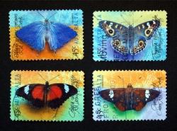 Australian postage stamps range with different species of butterflies