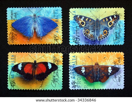 Australian postage stamps range with different species of butterflies