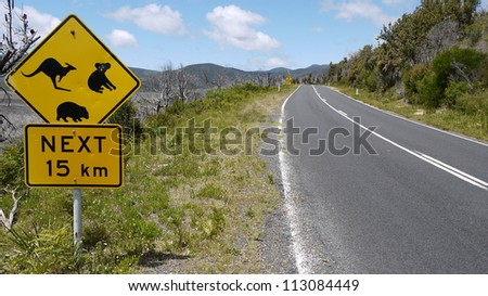Australian road sign at a national park in Victoria.