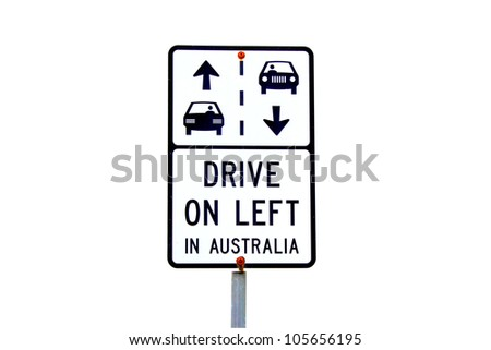 Australian road sign with arrows and drive on left warning