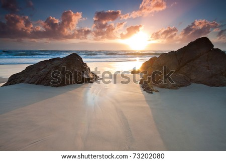 australian seascape at sunrise (miami beach,queensland,australia)