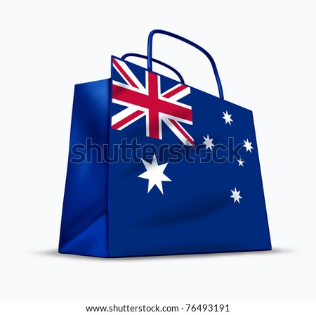 Australian shopping symbol represented by a bag with the flag of Australia.