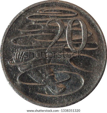 Australian twenty-cent coin features the  Platypus, isolated on white background.