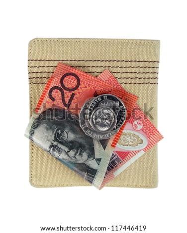 australian twenty dollars note and wallet