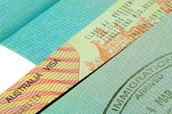 Australian visa and immigration stamp