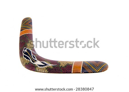 australian wood boomerang isolated on white background