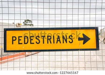 Australian yellow pedestrian traffic sign  sign