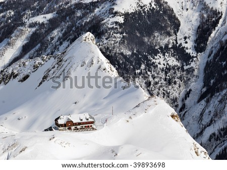 Austria. Alps. Shmittenhorn ski resort. Lonely hotel on the brink of the mountain