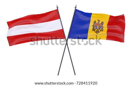 Austria and Moldova, two crossed flags isolated on white background. 3d image
