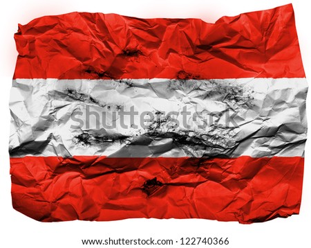 Austria. Austrian flag  painted on crumpled paper