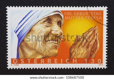 AUSTRIA - CIRCA 2010: a postage stamp printed in Austria showing an image of mother Teresa, circa 2010.