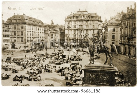"""AUSTRIA - CIRCA 1910: a postcard printed by AUSTRIA shows sepia toned photograph of """"Am Hof"""" Square in Vienna. The """"Am Hof"""" Square means """"By the Court"""". Circa 1910 - stock photo"""