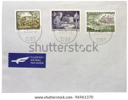 AUSTRIA - CIRCA 1997: a set of three stamps printed by AUSTRIA shows the Augustinian monastery Stift Vorau, Interpol Officer and protection of water resources, circa 1997.