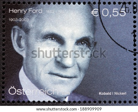 AUSTRIA CIRCA 2003 A stamp printed by AUSTRIA shows image portrait of Henry Ford an American industrialist business magnate the founder of the Ford Motor Company circa 2003