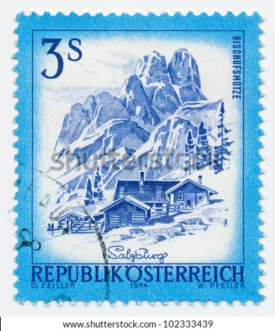 AUSTRIA - CIRCA 1974: A stamp printed in Austria shows Hotel Bischofsmutze and mountain, series, circa 1974