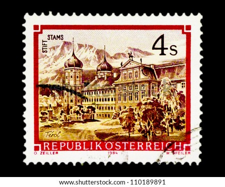 "AUSTRIA - CIRCA 1984: A stamp printed in Austria, shows image of Stams Monastery, with the same inscription, from the series ""Monasteries and Abbeys in Austria"", circa 1984"