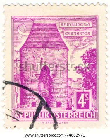AUSTRIA - CIRCA 1930: A stamp printed in Austria shows of the Wiener tor at Hainburg,  circa 1930