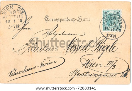 "AUSTRIA - CIRCA 1900: A vintage used yellowed from time Austrian envelope (campaign poster) and stamps with inscription ""Postcard"", series, circa 1900"
