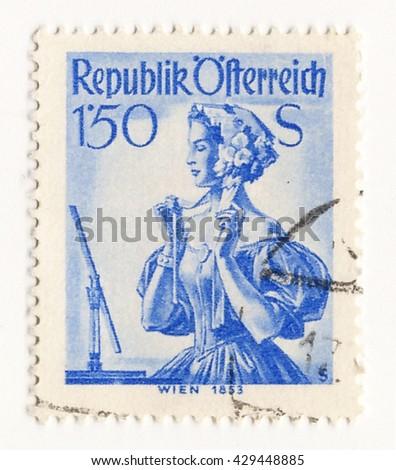austria circa 1960 postage...