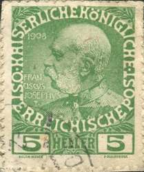 AUSTRIA - CIRCA 1908: stamp printed by Austria, shows Franz Josef