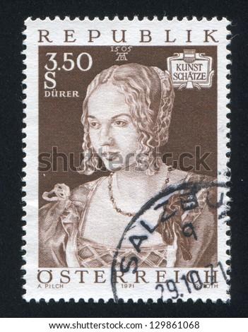 AUSTRIA - CIRCA 1971: stamp printed by Austria, shows young woman, circa 1971