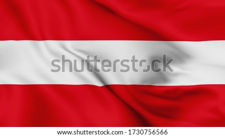 Austria flag is waving 3D animation. Austria flag waving in the wind. National flag of Austria, 3d rendering