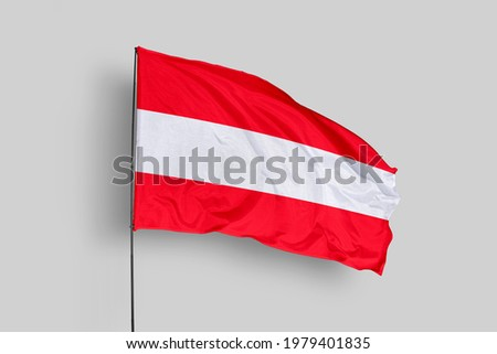 Austria flag isolated on white background with clipping path. close up waving flag of Austria. flag symbols of Austria. Austria flag frame with empty space for your text.