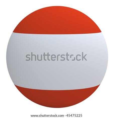 Austria flag on the ball isolated on white. Computer generated 3D photo rendering. - stock photo