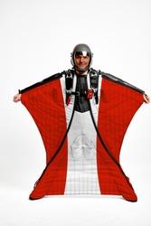 Austria flag travel. Sky diving men in parachute. Patriotism, men and flag.