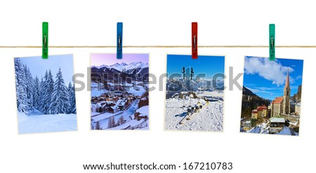 Austria mountains ski photography on clothespins isolated on white background
