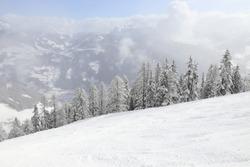Austria mountains winter ski resort - Mayrhofen in Tyrol. Austrian Central Alps.