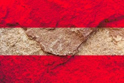 Austria national flag icon isolated on weathered strong rock wall background, positive Austrian political concept texture wallpaper