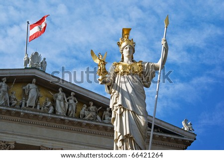 Austria, parliament architecture with building and statue, Vienna