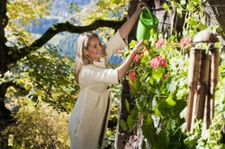 Austria,Salzburg,Flachau,Young woman watering plants in farm garden
