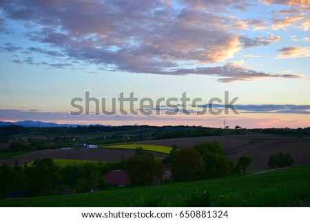Austrian country at sunset. Pink sunset, green and yellow rape field. #650881324