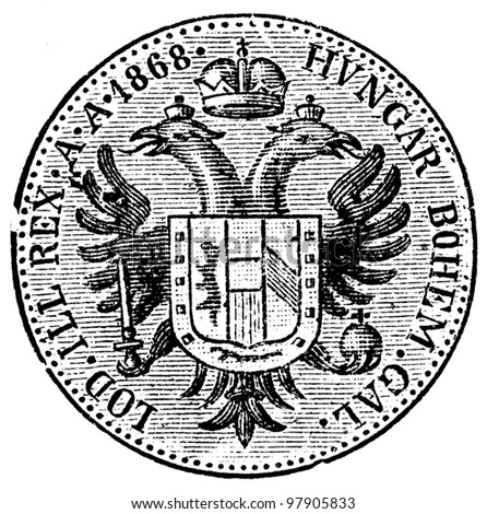 """Austrian Ducat, 1868 - an illustration to articke """"Coins"""" of the encyclopedia publishers Education, St. Petersburg, Russian Empire, 1896"""