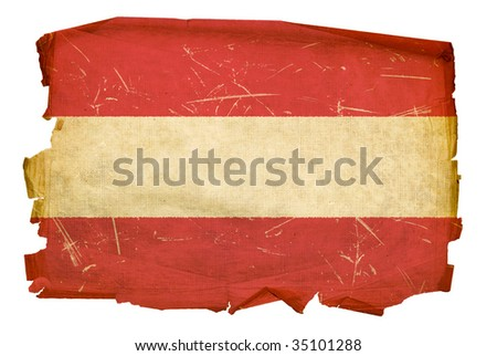 Austrian Flag old, isolated on white background. - stock photo