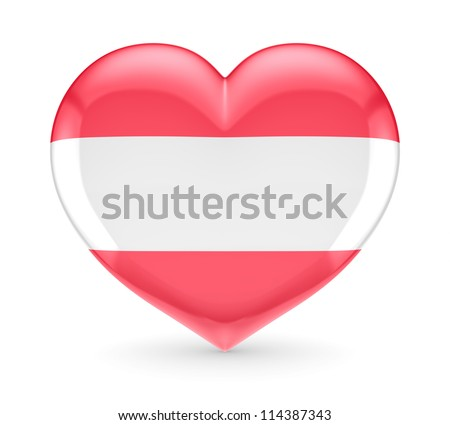 Austrian flag on a heart.Isolated on white background.3d rendered. - stock photo