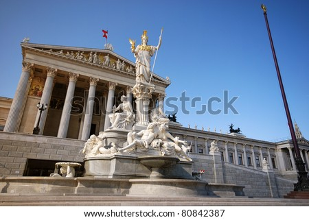 Austrian parliament and monument of Athena Pallada (Vienna, Austria). Wide-angle view