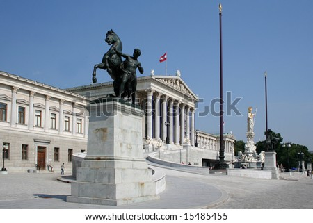 Austrian Parliament building with statue of Athena