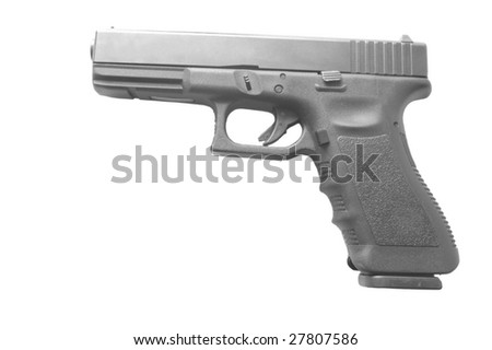 Austrian plastic semiautomatic Handgun isolated on a white background