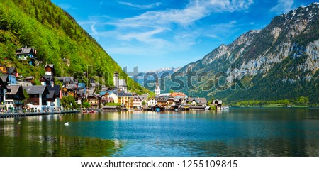 Austrian tourist destination - panorama of Hallstatt village and Hallstatter See mountain lake in Austria in Austrian alps. Salzkammergut region, Austria