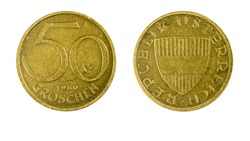 authentic Austrian 50 Groschen coin year 1980 obverse and reverse side on white background,macro close up