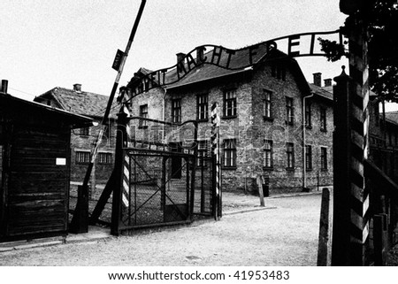 Authentic gate to Auschwitz concentration camp in Poland