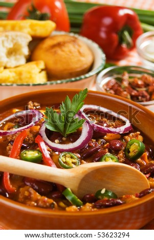 Authentic hot and spicy mexican chili beans served with corn bread